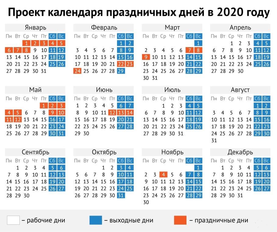 График выходных в 2020 году